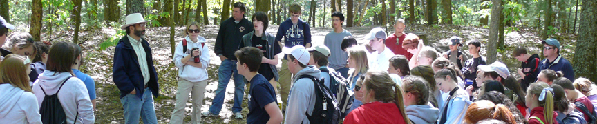 Image of a group visiting Walden Woods