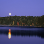 Image of Walden Pond with moon rise