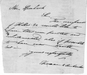 Image of letter to Oliver Sparhawk from Thoreau and James Richardson