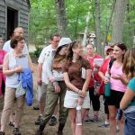 teachers at the cabin replica at Walden